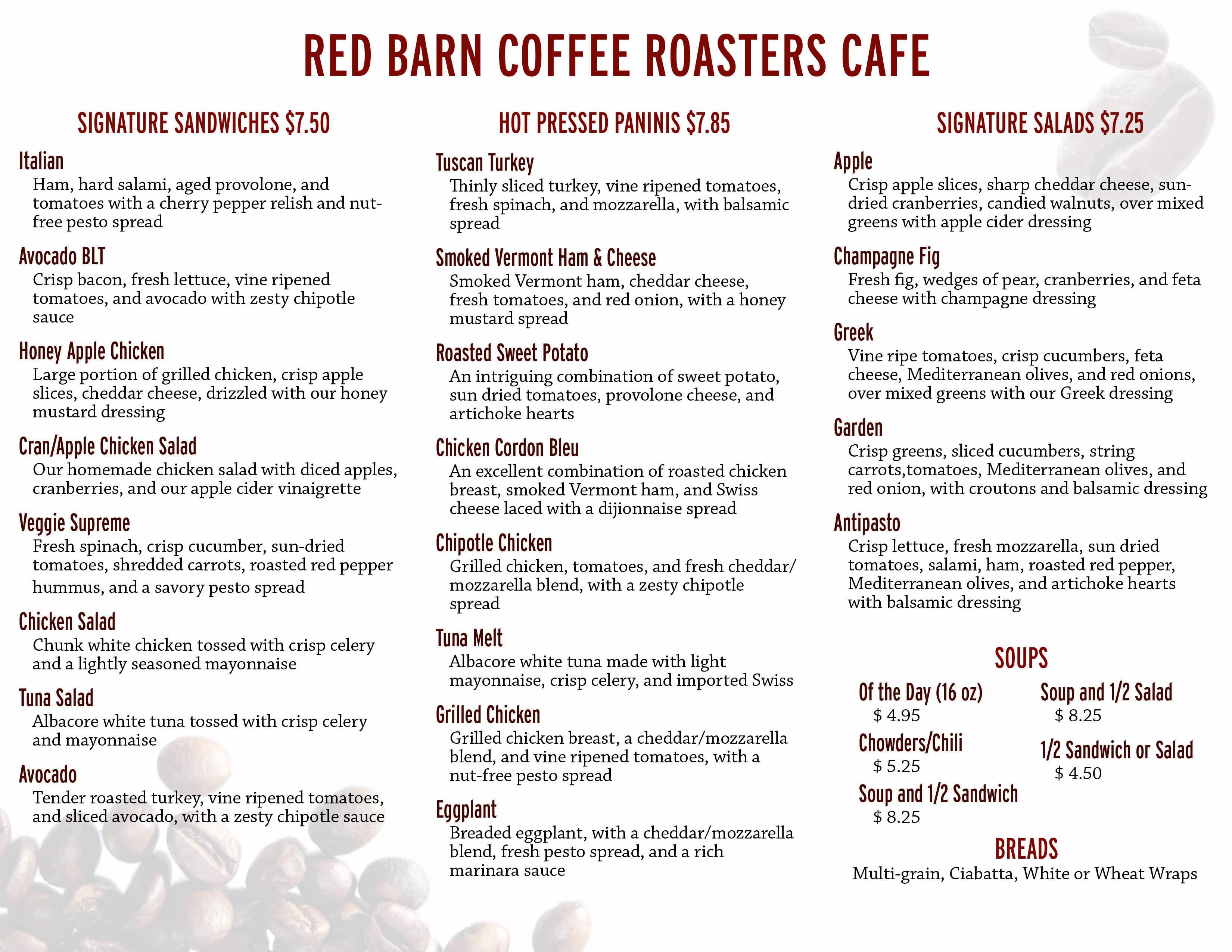 Red Barn Coffee Roasters Cafe Menu Allison Hammond